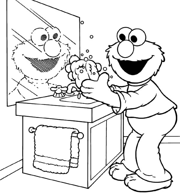 Elmo Washing Hands Coloring Page