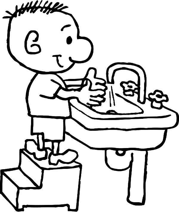 Good Hygiene Washing Hands Coloring Page