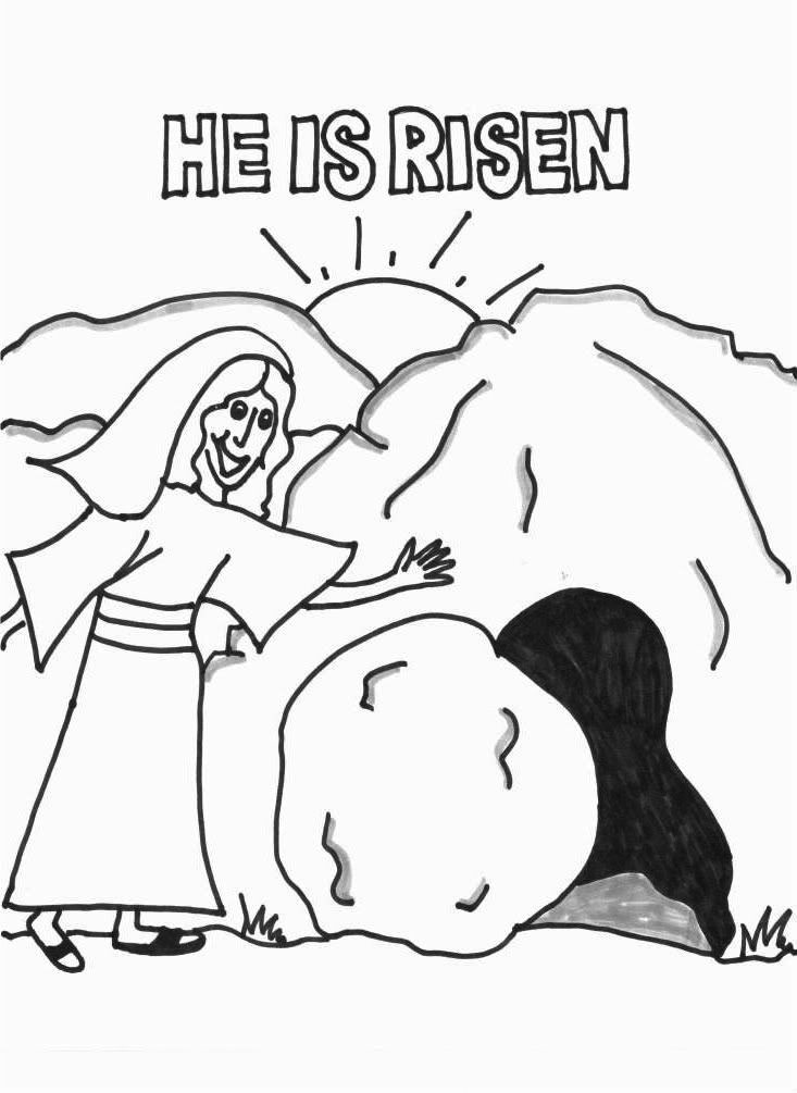 He Is Risen Jesus Tomb Coloring Page