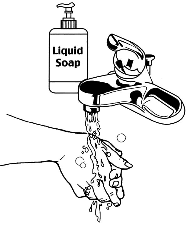 Free Hand Washing Coloring Pages For Kids ⋆ بالعربي نتعلم | 722x600