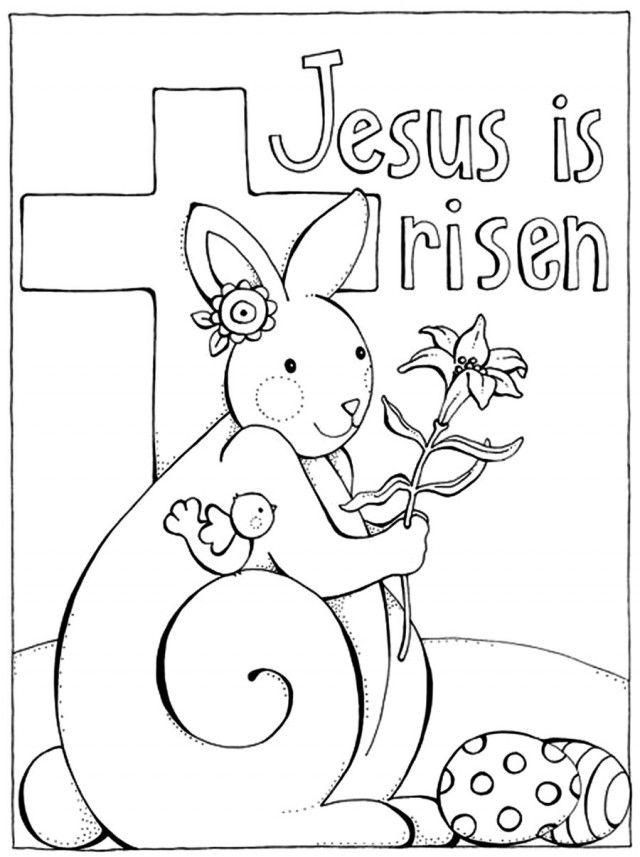 Jesus Is Risen Easter Resurrection Coloring Page