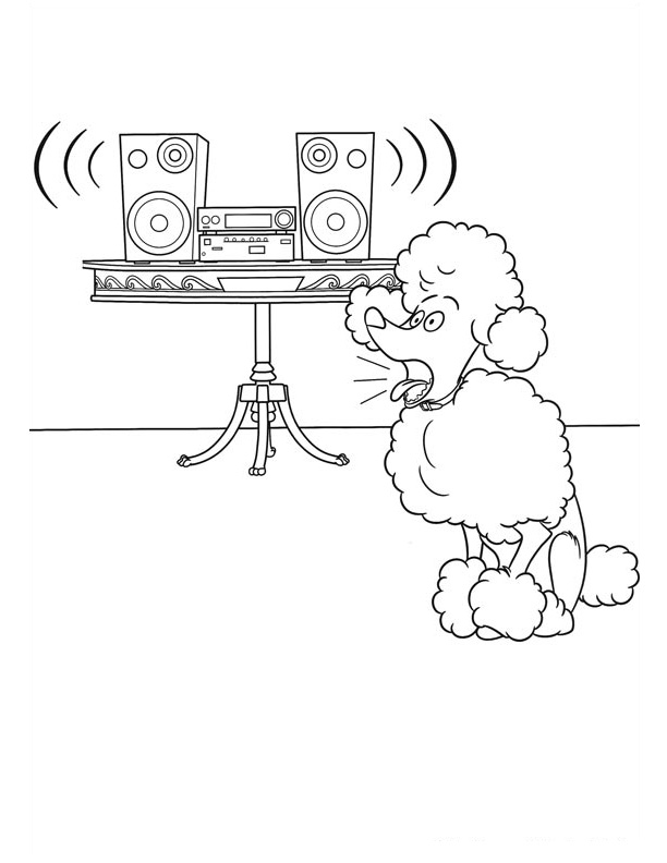 Leonard Poodle Headbanging Coloring Page