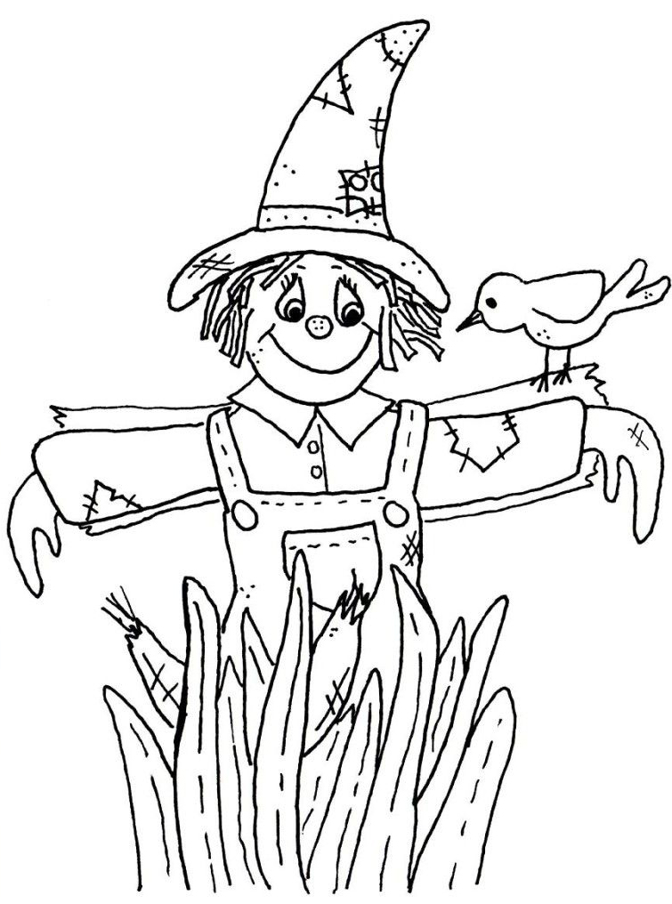 Not Afraid Of Scarecrow Coloring Page