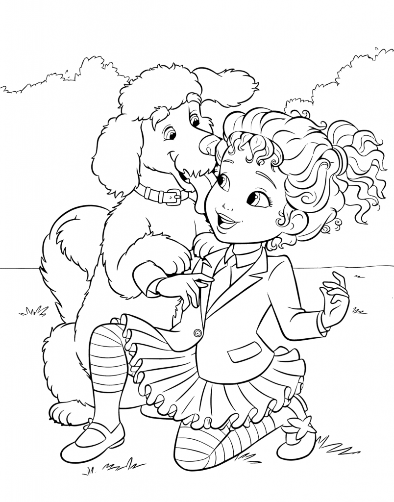 Poodle And Owner Coloring Page