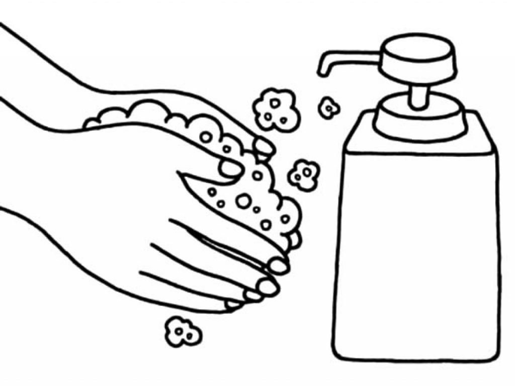Washing Hands With Soap Coloring Page