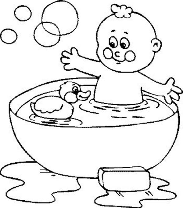 Baby Bath Time Rubber Duck Coloring Pages