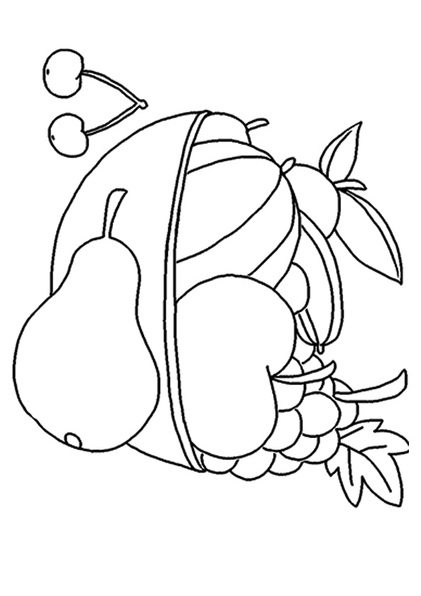 Bowl of Fruit with Cherries Coloring Page
