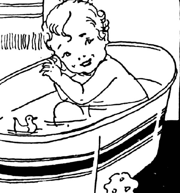 Cute Baby In Bath With Rubber Duck Coloring Page
