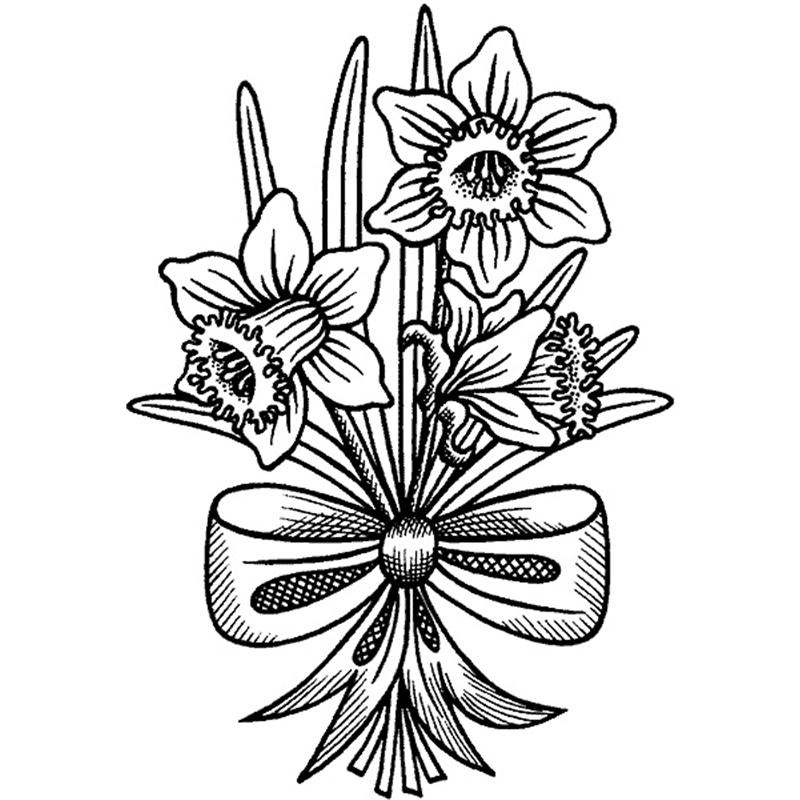 Daffodils With A Bow Coloring Page