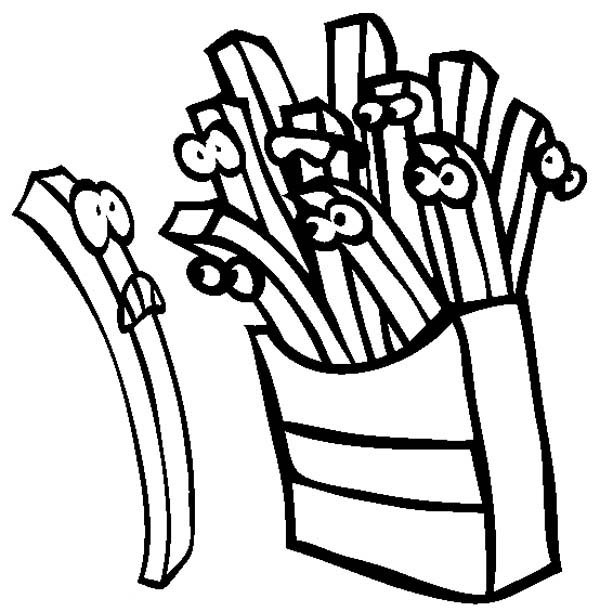 Fearful French Fries Coloring Page