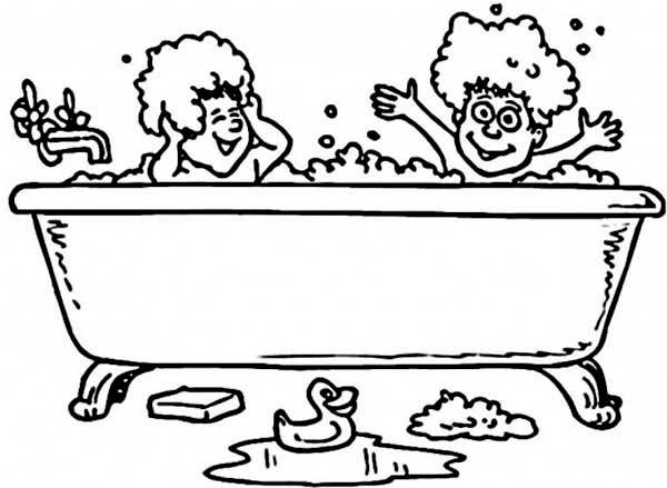 Fun Bath Time Coloring Page