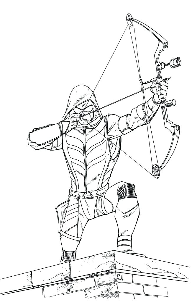 Green Arrow On Rooftop Coloring Page