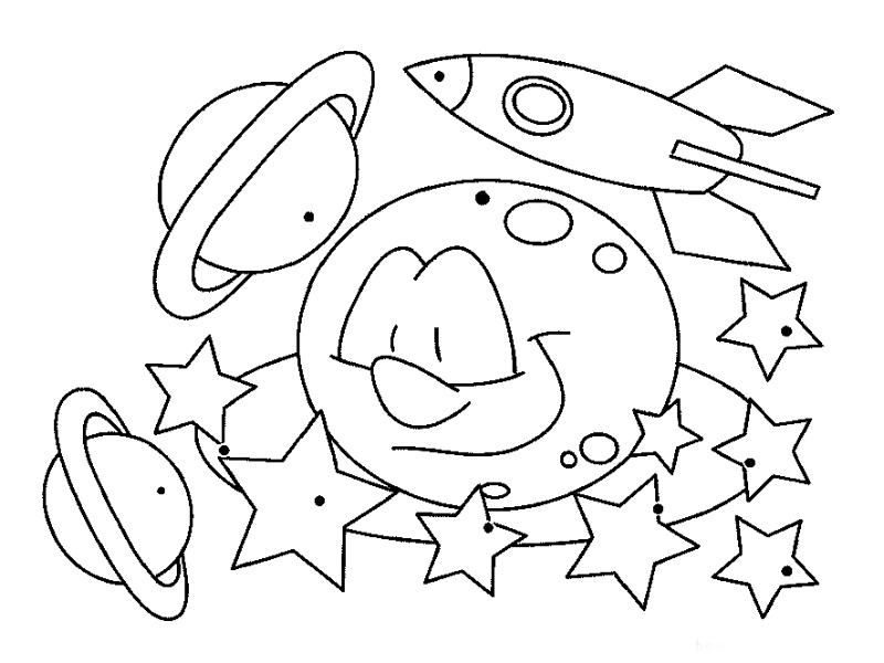 Happy Saturn Coloring Pages