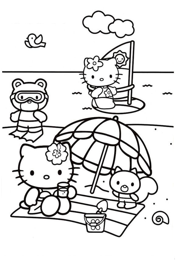 Hello Kitty Beach Picnic Coloring Page