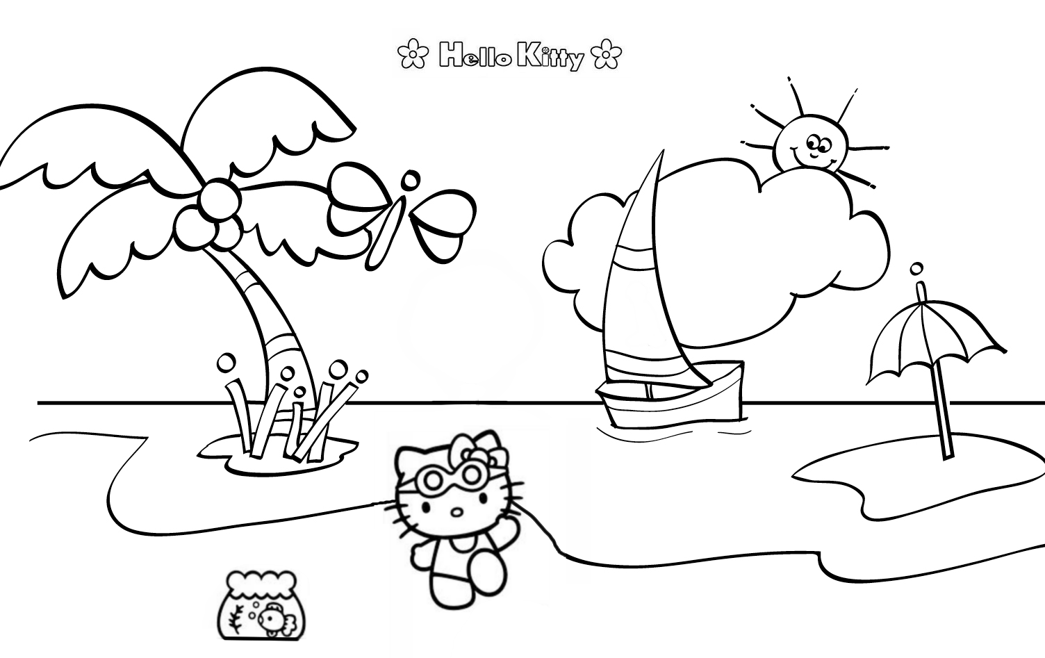 Hello Kitty Beach Scene Coloring Page