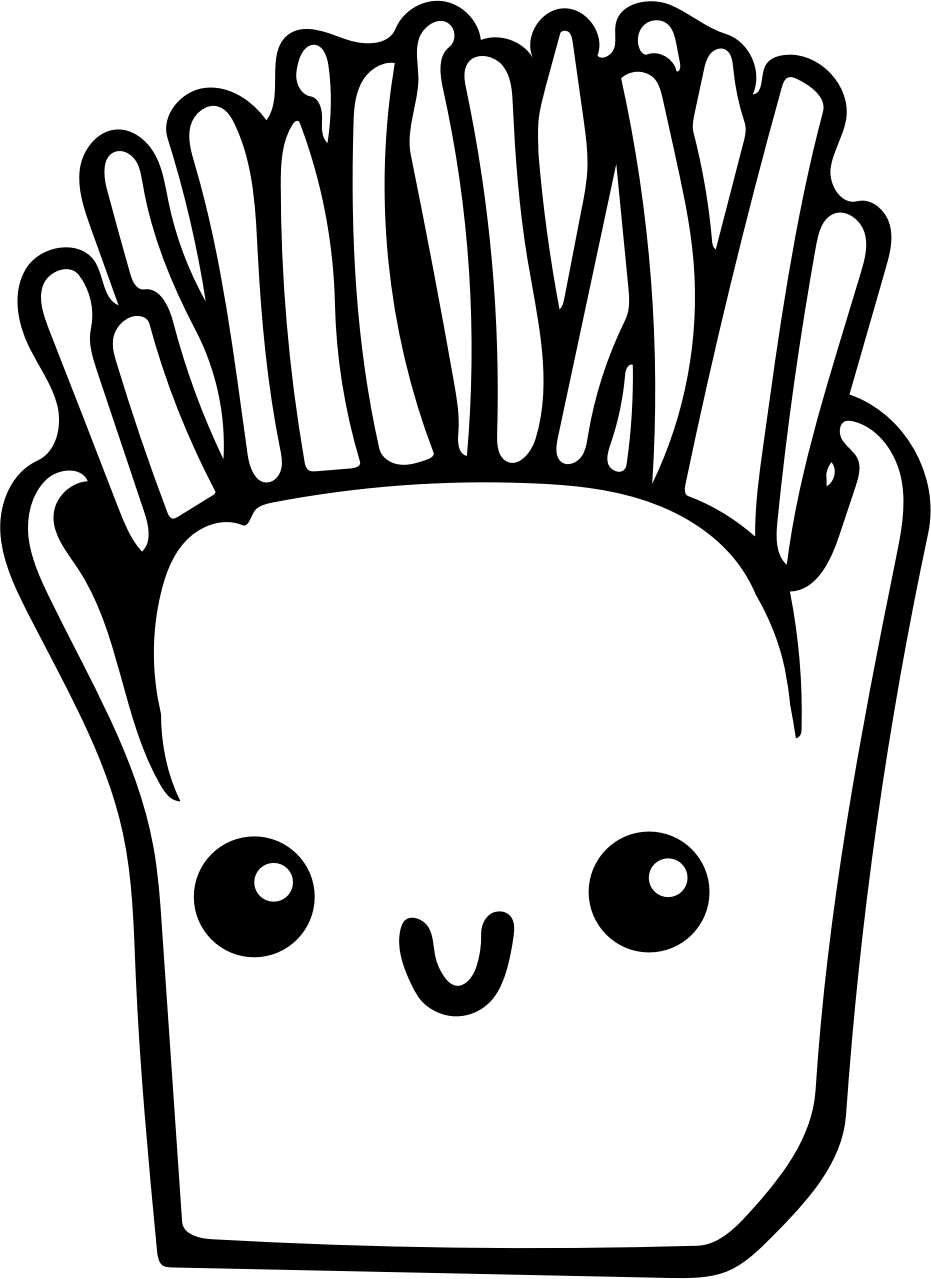 Kawaii French Fries Coloring Pages