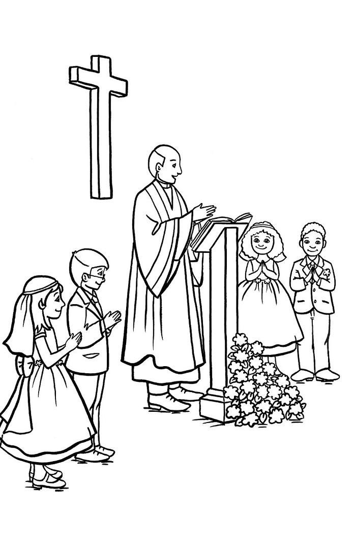 Kids During Church Communion Coloring Pages