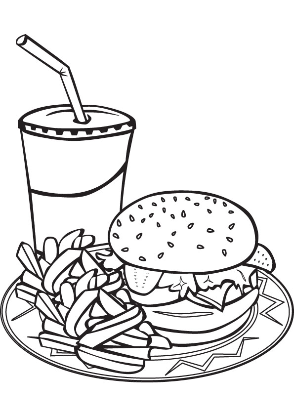 Meal With French Fries Coloring Pages