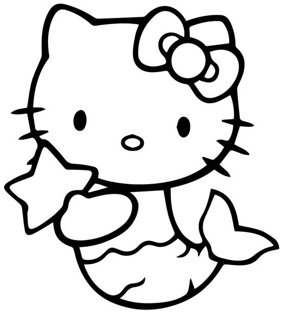 Mermaid Hello Kitty Printable Coloring Page