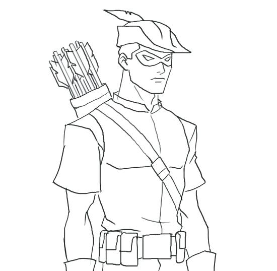Old School Green Arrow Coloring Pages