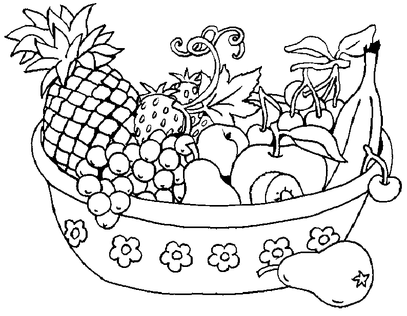 Pretty Bowl of Fruit Coloring Page