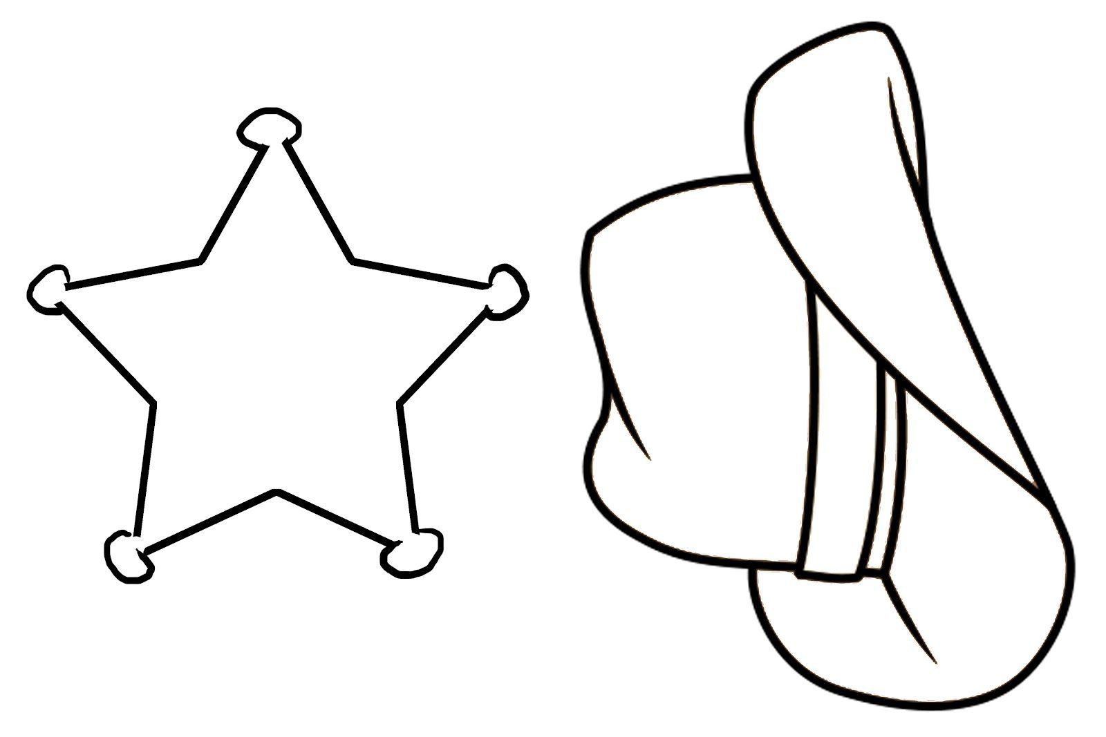 Sherrif Hat And Star Coloring Page