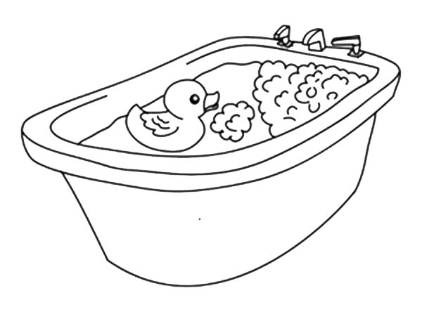 Tub With Rubber Duck Coloring Page