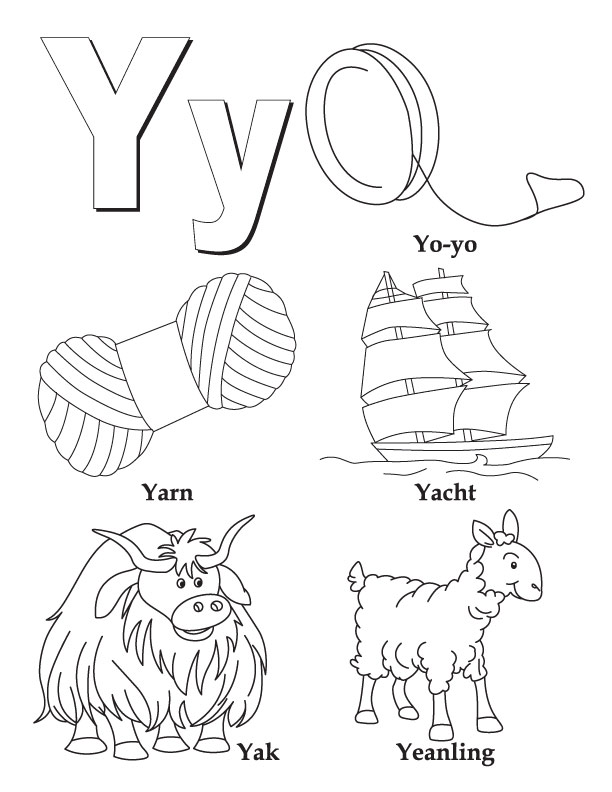 Y Words Coloring Printable