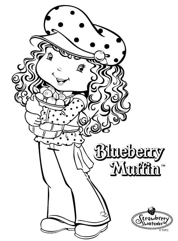 Blueberry Muffin Character Coloring Page