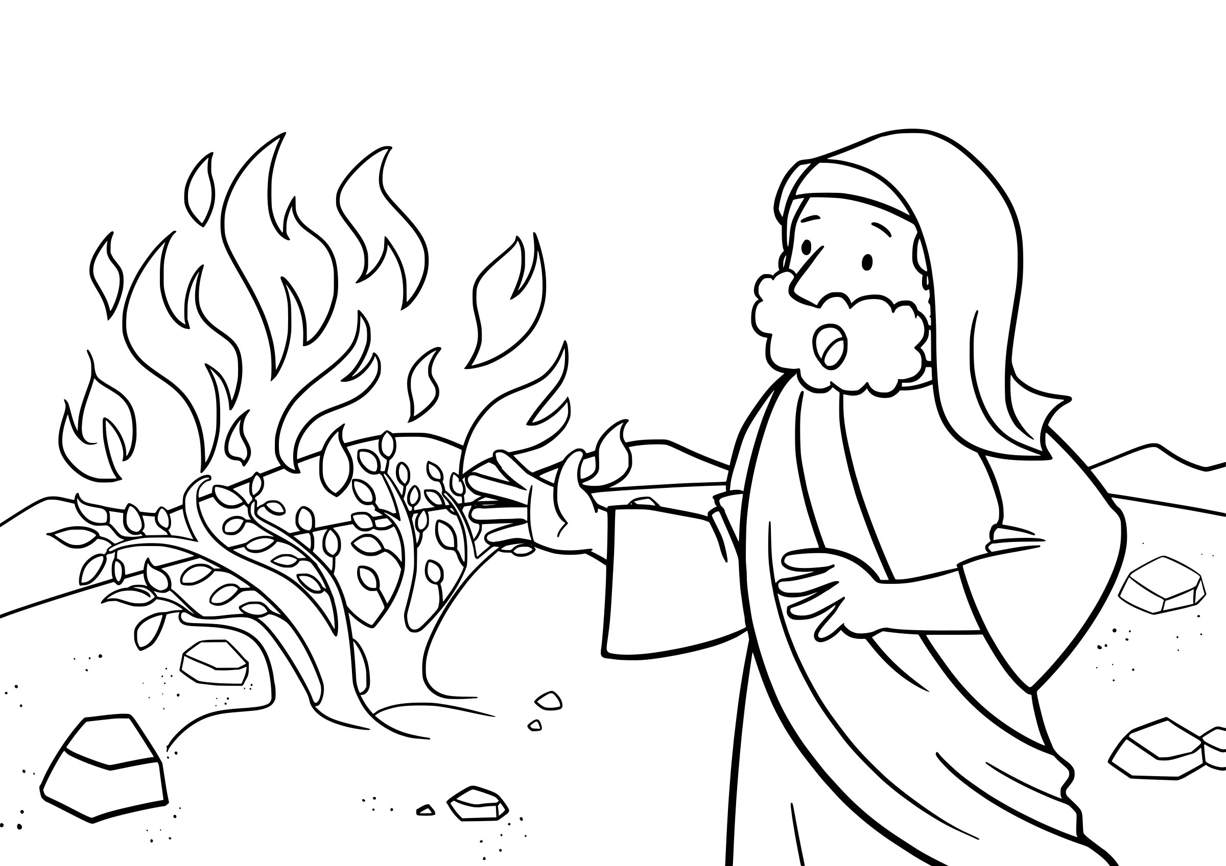 Burning Bush Printable Coloring Page