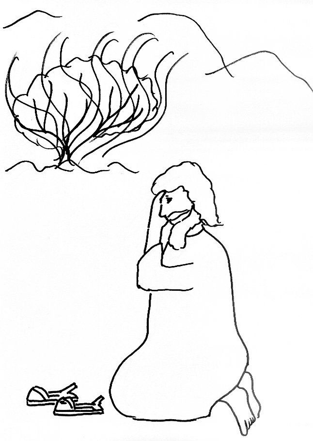 Easy Burning Bush Coloring Page