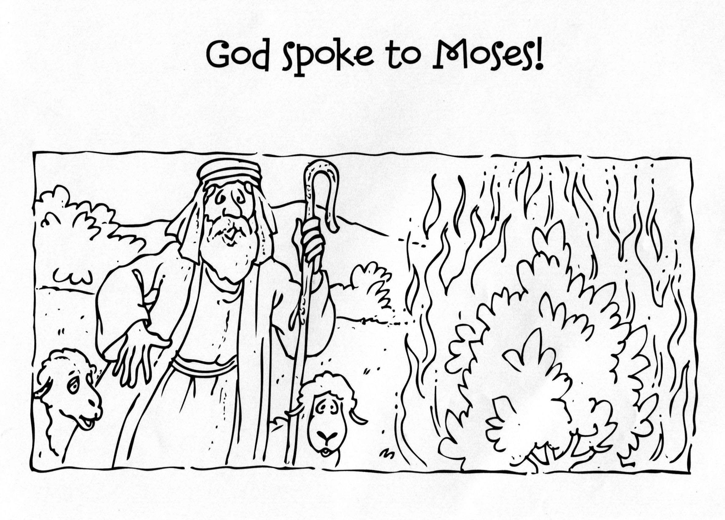 God Spoke To Moses Burning Bush Coloring Page