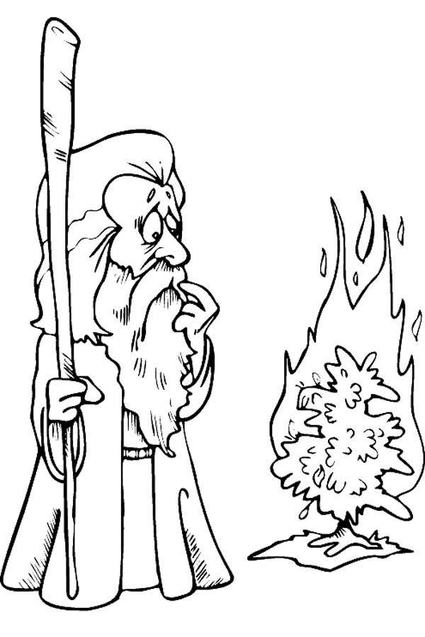 Moses And Burning Bush Coloring Page