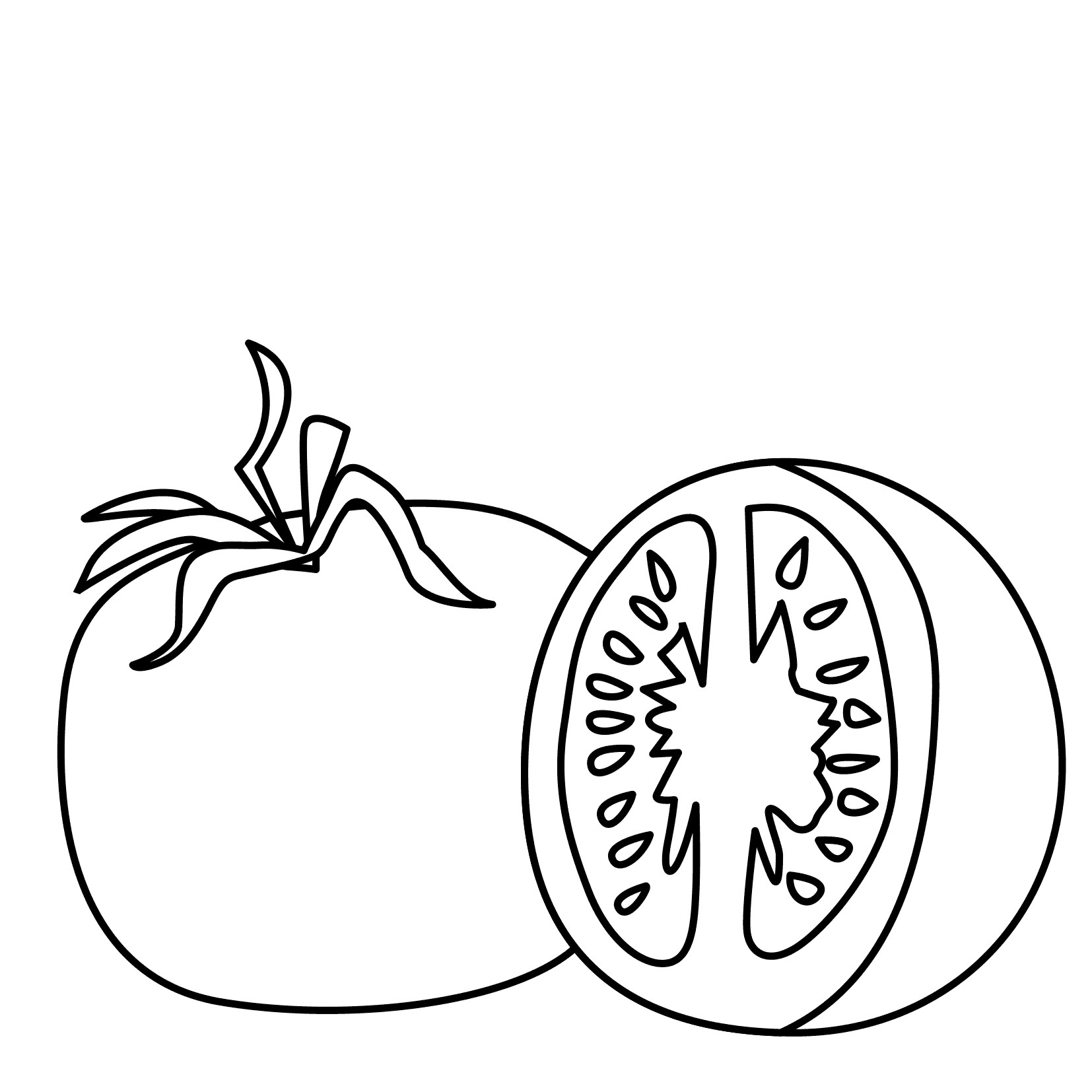 Sliced Tomato Coloring Page
