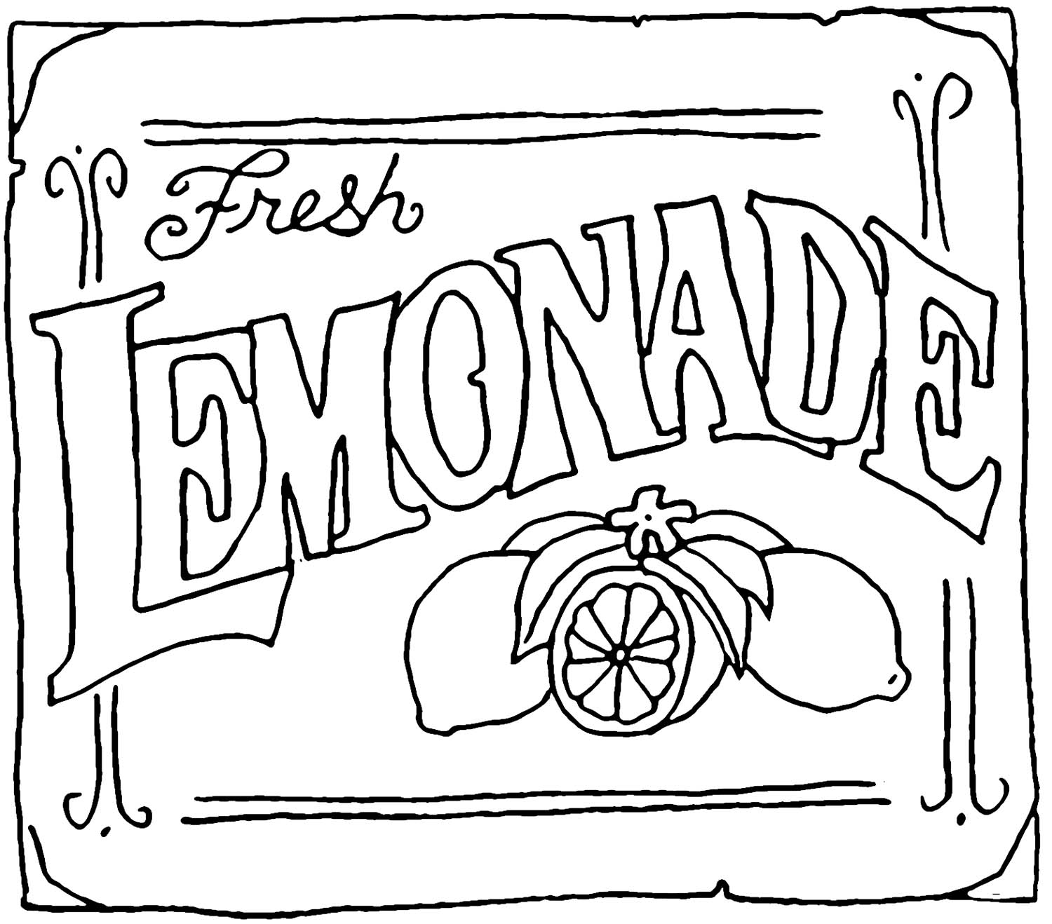 Fresh Lemonade Sign Coloring Pages