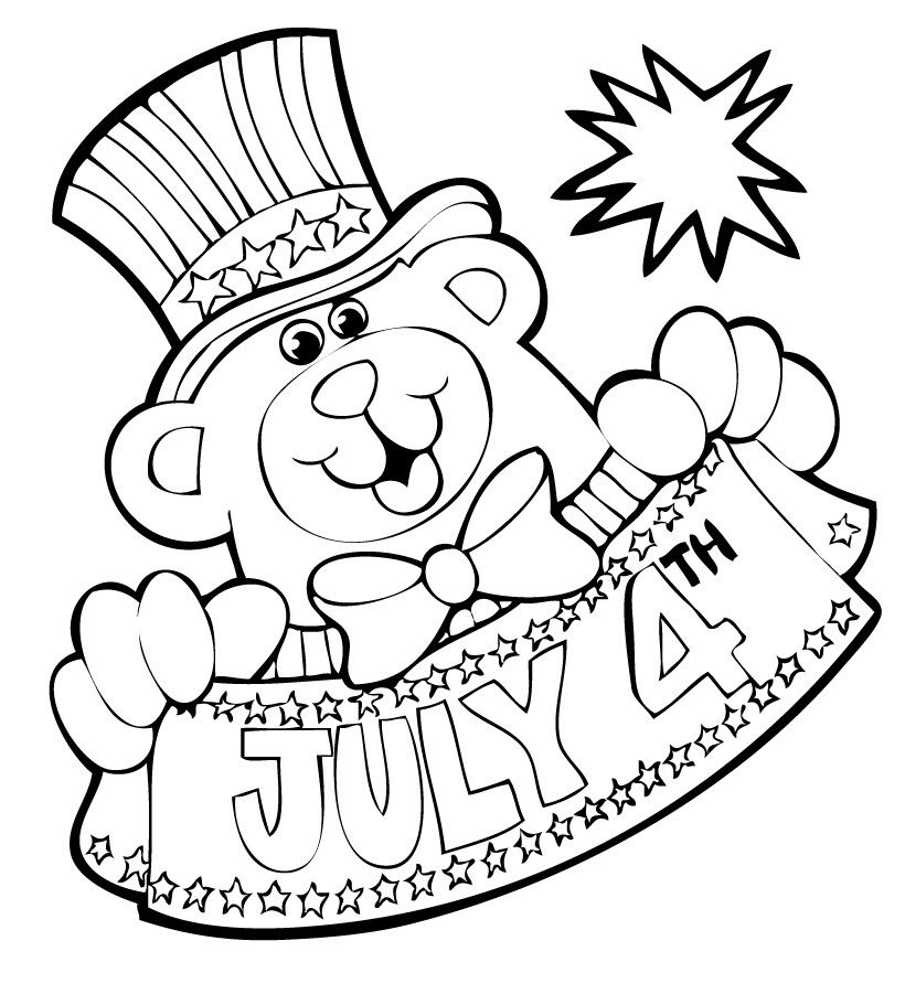 Independence Day Bear Coloring Pages