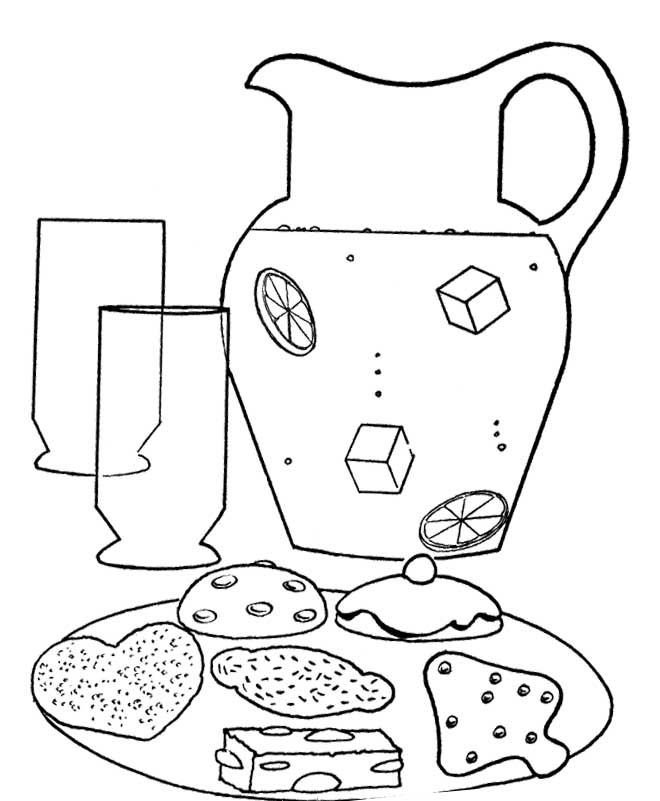 Lemonade And Cookies Coloring Page
