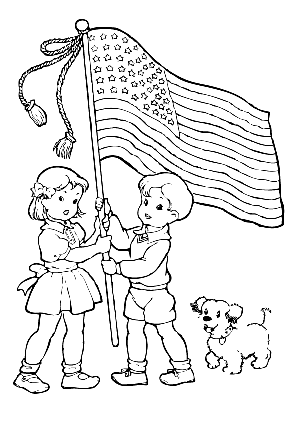 Patriotic Children With American Flag Coloring Page