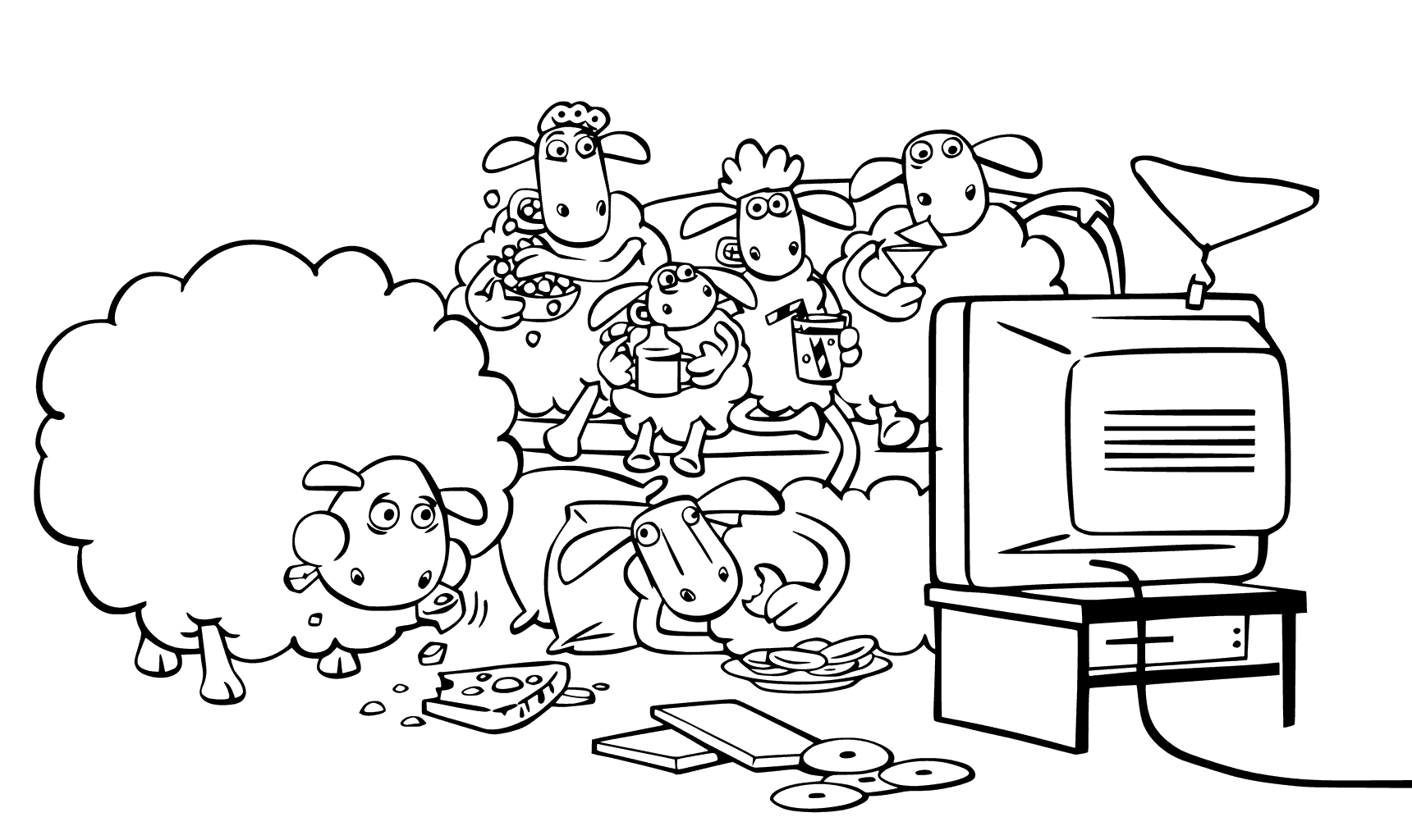 Shaun The Sheep Watching Tv Coloring Pages