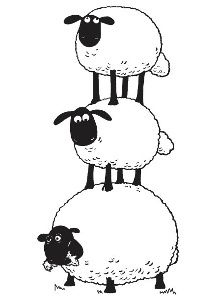 Stacked Sheep Coloring Pages