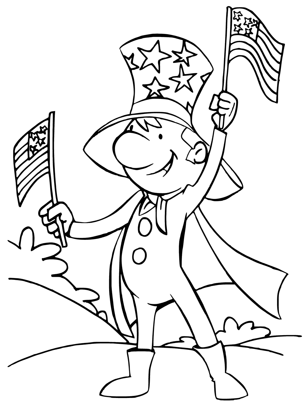 Uncle Sam Independence Day Coloring Pages