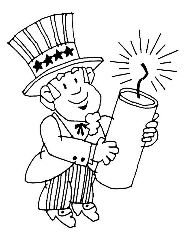 Uncle Sam With Firework Coloring Page