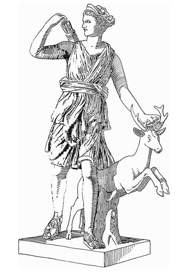 Artemis Greek Mythology Coloring Pages
