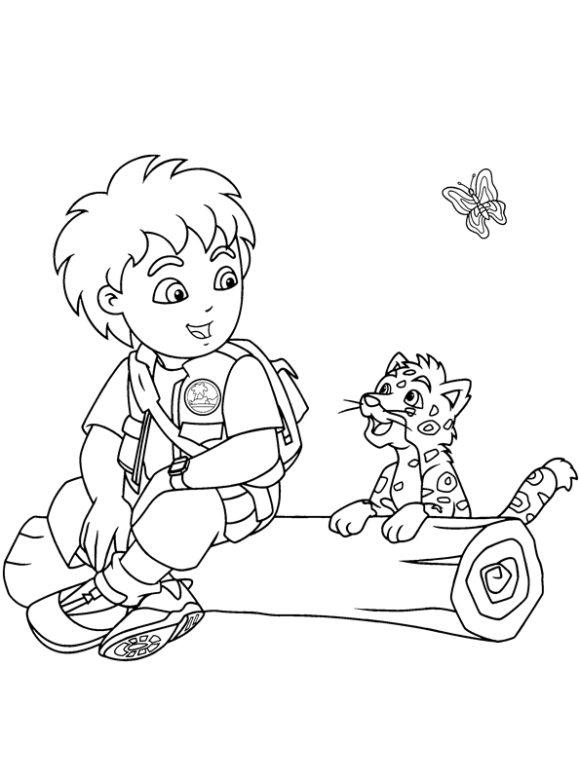 Baby Jaguar And Diego Coloring