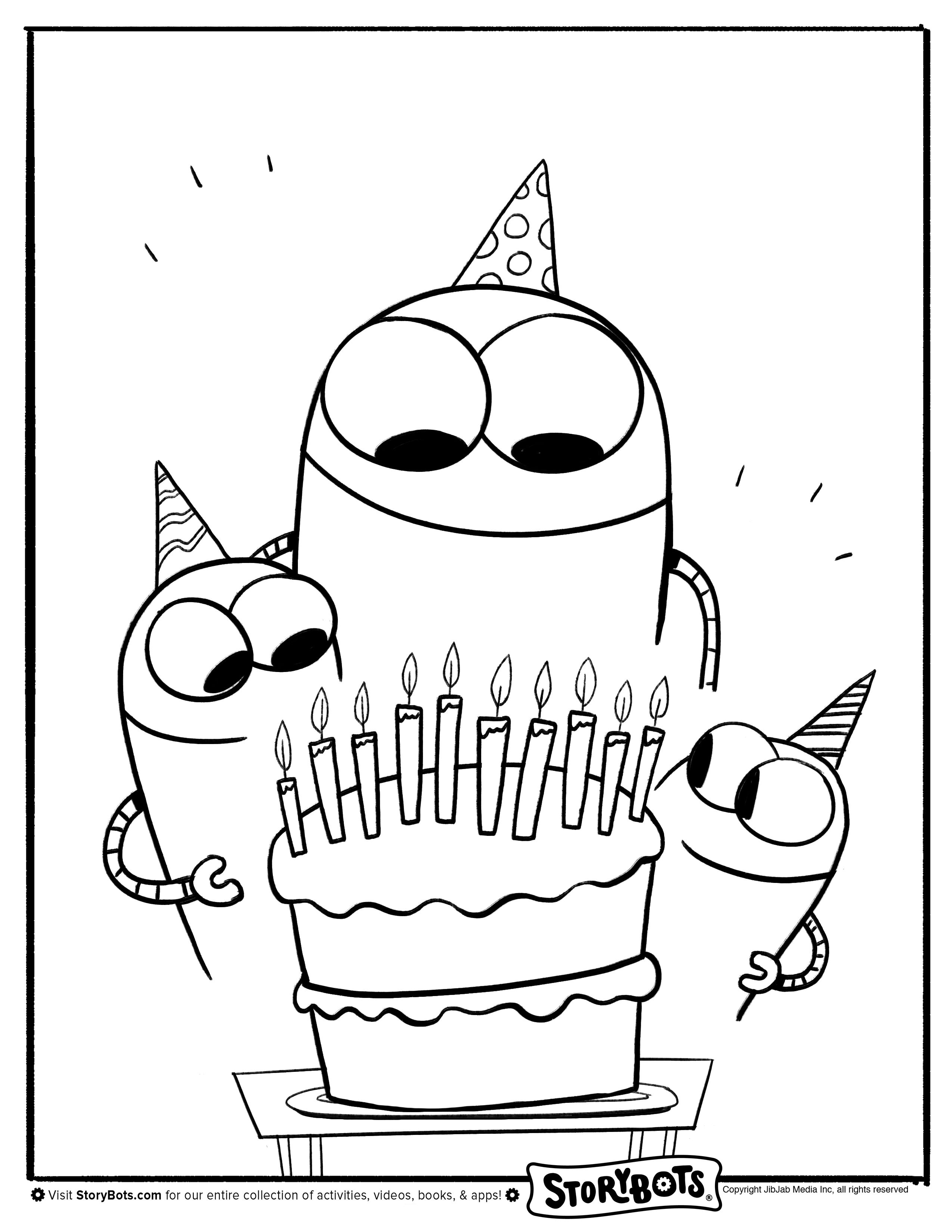 Birthday Cake Storybots Coloring Pages