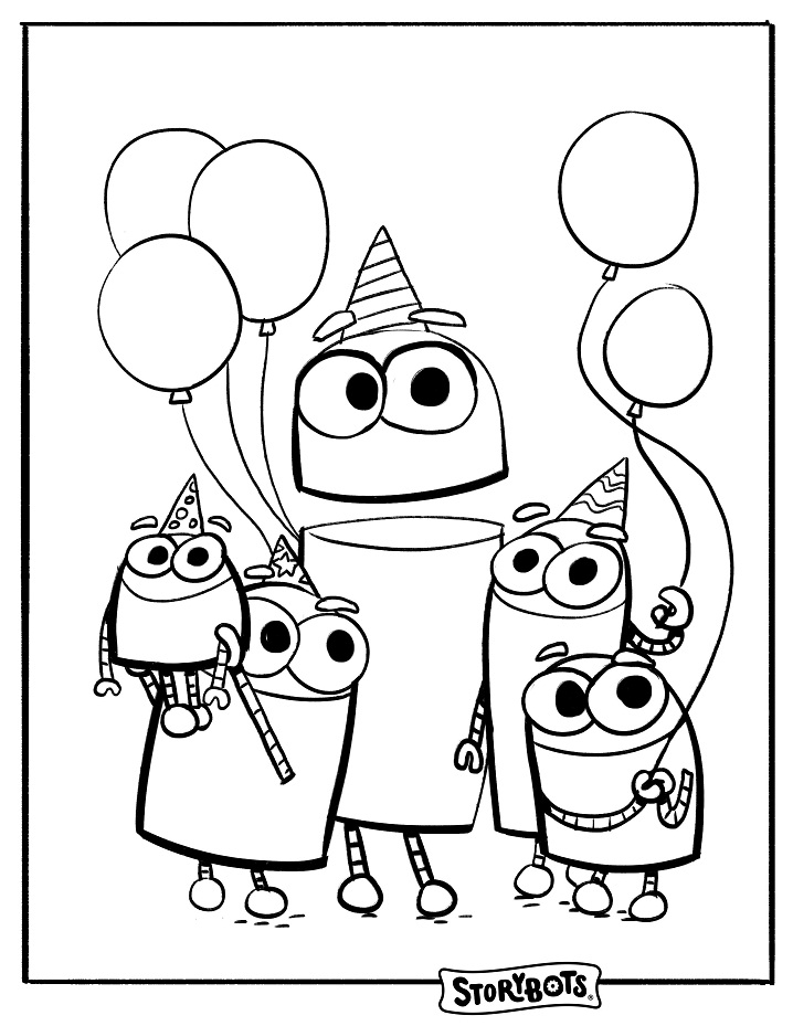 Birthday Storybots Coloring Page