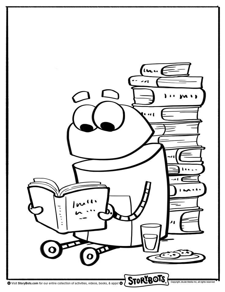 Book Reading Storybots Coloring Pages