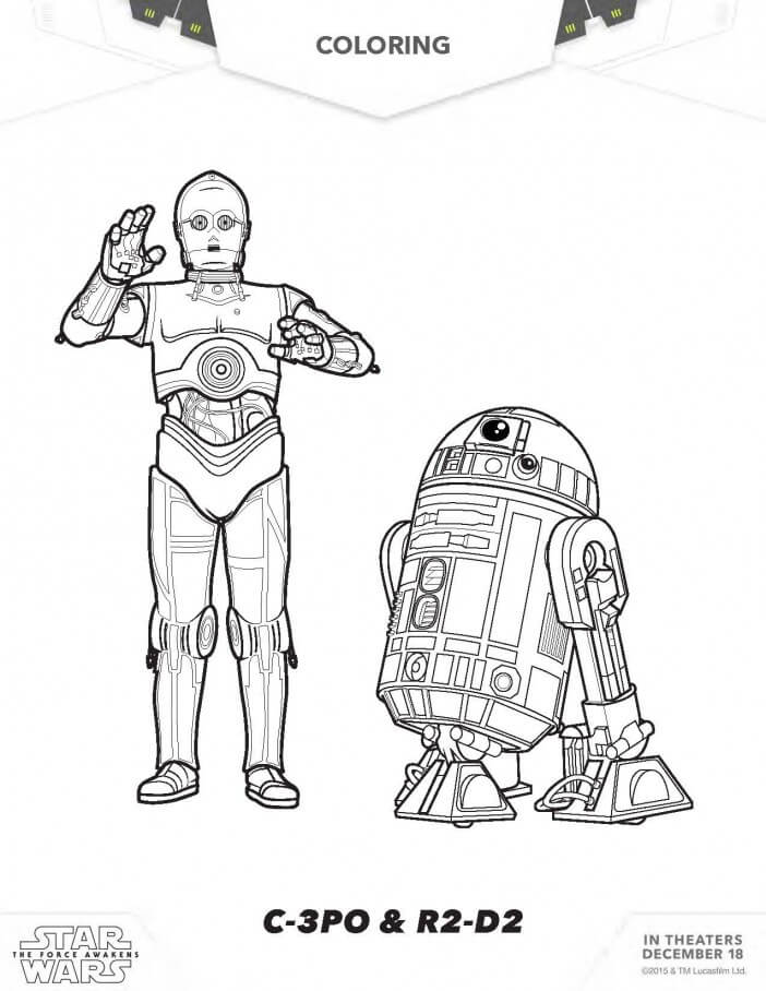 C 3po And R2d2 Coloring Page