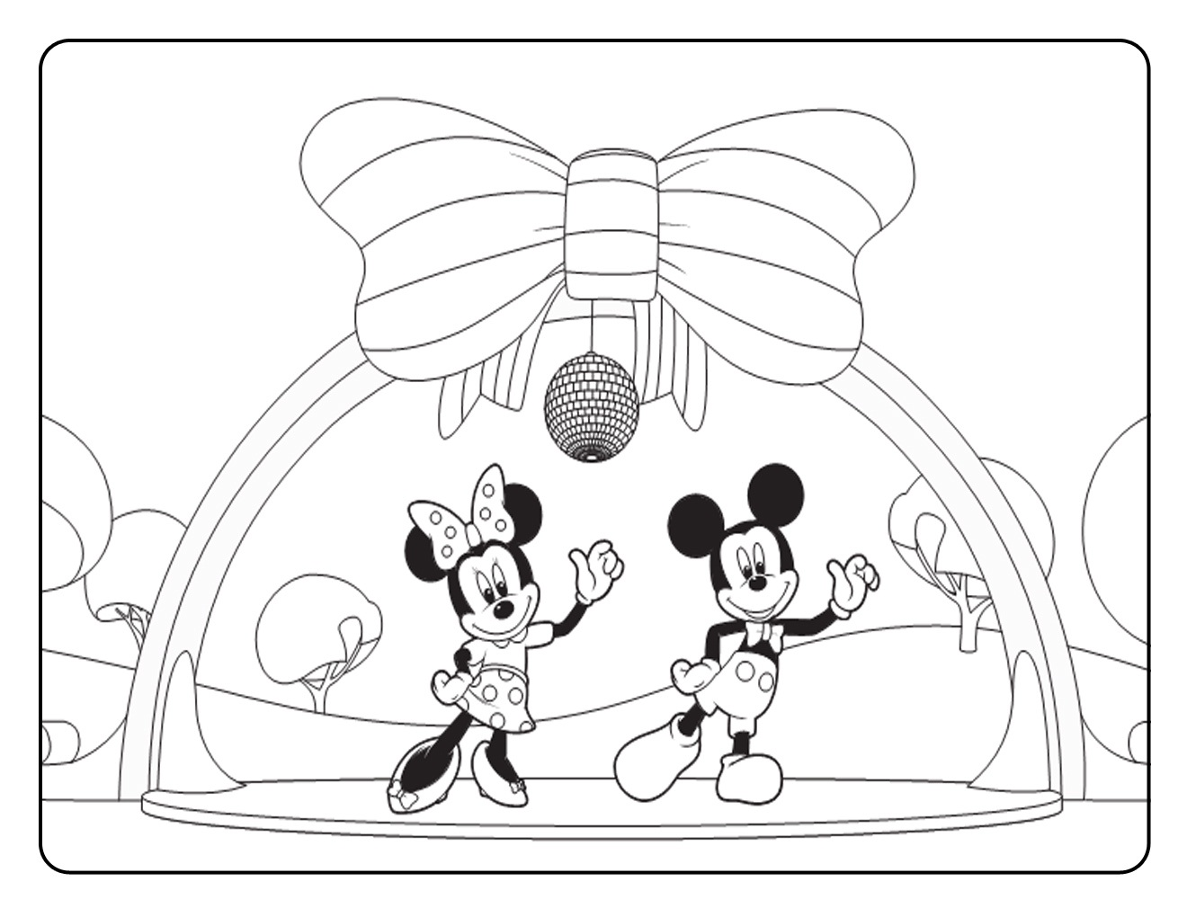 Dancing Mickey And Mini Mouse Clubhouse Coloring Page