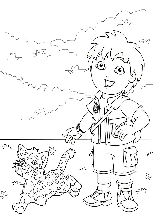 Diego And Jaguar Coloring Page